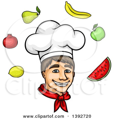 Clipart of a Cartoon White Male Chef Surrounded by Produce - Royalty Free Vector Illustration by Vector Tradition SM