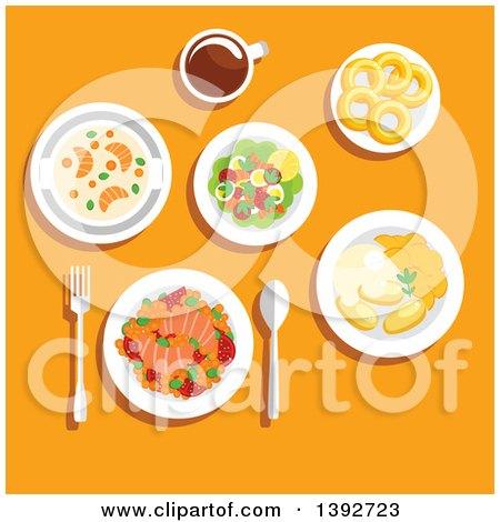 Table Set with Norwegian Food on Orange Posters, Art Prints