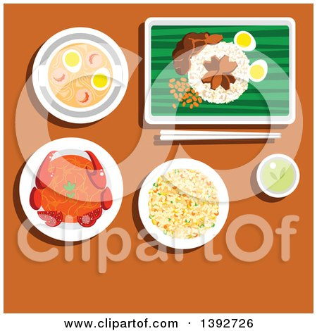 Table Set with Singaporean Food on Brown Posters, Art Prints