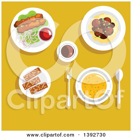 Clipart of a Table Set with Arabian Food on Yellow - Royalty Free Vector Illustration by Vector Tradition SM
