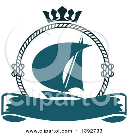 Clipart of a Sailboat in a Circular Rope Frame, with a Crown over a Blank Banner - Royalty Free Vector Illustration by Vector Tradition SM