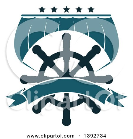 Clipart of a Boat Sail and a Helm with Stars and a Blank Banner - Royalty Free Vector Illustration by Vector Tradition SM
