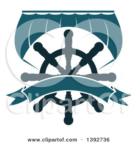 Clipart of a Boat Sail and a Helm with a Blank Banner - Royalty Free Vector Illustration by Vector Tradition SM