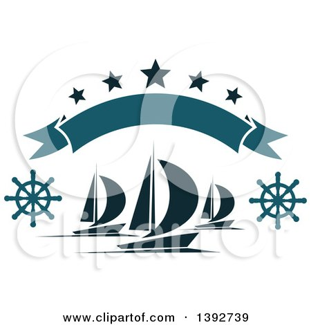Clipart of Sailboats with Helms Under a Banner and Stars - Royalty Free Vector Illustration by Vector Tradition SM