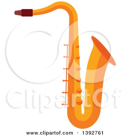 Clipart of a Flat Design Saxophone - Royalty Free Vector Illustration by Vector Tradition SM