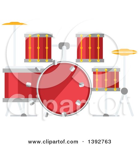 Clipart of a Flat Design Drum Set - Royalty Free Vector Illustration by Vector Tradition SM