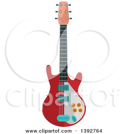 Clipart of a Flat Design Electric Guitar - Royalty Free Vector Illustration by Vector Tradition SM