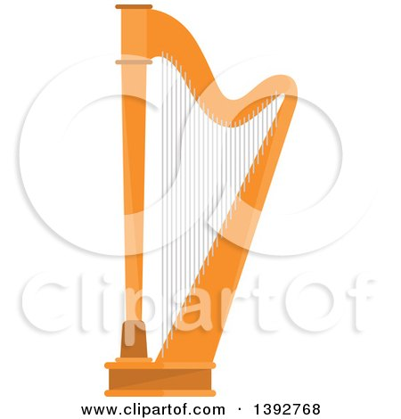 Clipart of a Flat Design Harp - Royalty Free Vector Illustration by Vector Tradition SM