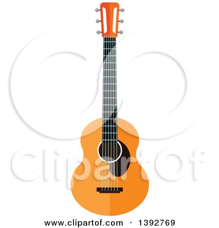 Clipart of a Flat Design Acoustic Guitar - Royalty Free Vector Illustration by Vector Tradition SM