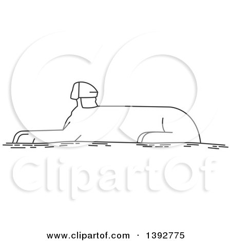 Clipart of a Gray Sketched Travel Landmark of the Great Sphinx - Royalty Free Vector Illustration by Vector Tradition SM