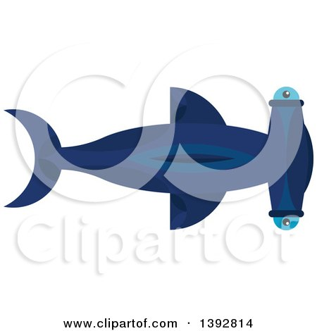 Clipart of a Flat Design Hammerhead Shark - Royalty Free Vector Illustration by Vector Tradition SM