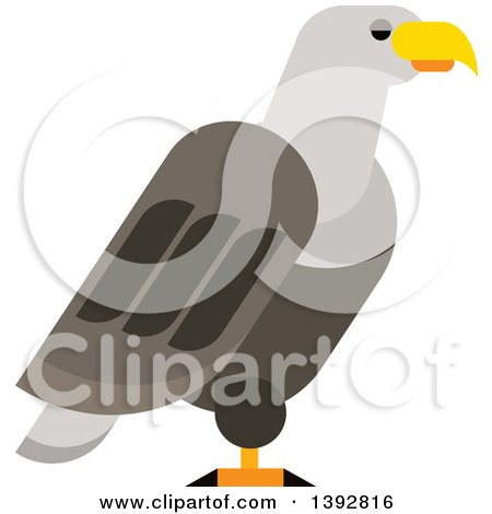 Clipart of a Flat Design Bald Eagle - Royalty Free Vector Illustration by Vector Tradition SM