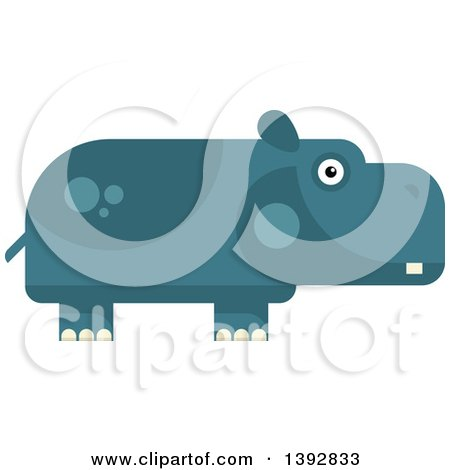 Clipart of a Flat Design Hippopotamus - Royalty Free Vector Illustration by Vector Tradition SM