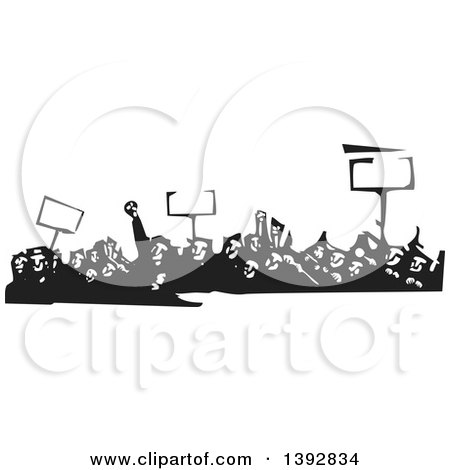 Clipart of a Black and White Woodcut Crowd of Protestors Holding Signs - Royalty Free Vector Illustration by xunantunich