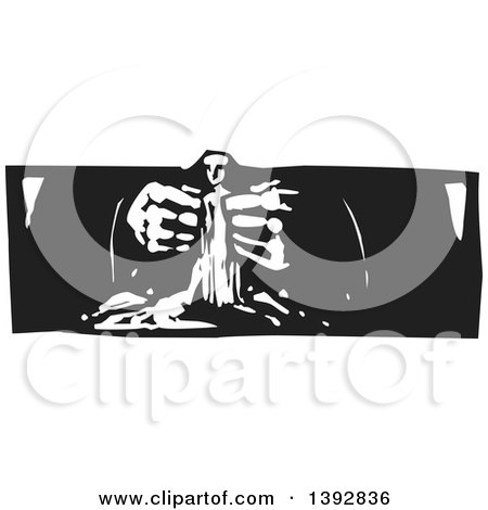 Clipart of a Black and White Woodcut God's Hands Creating a Statue of Man - Royalty Free Vector Illustration by xunantunich