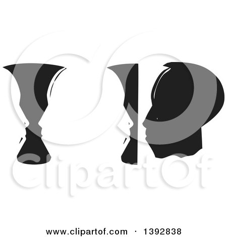 Clipart Of A Black And White Woodcut Vases And Abstract Faces