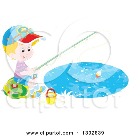 Clipart of a Happy Little Caucasian Boy Sitting on a Bag and Fishing - Royalty Free Vector Illustration by Alex Bannykh