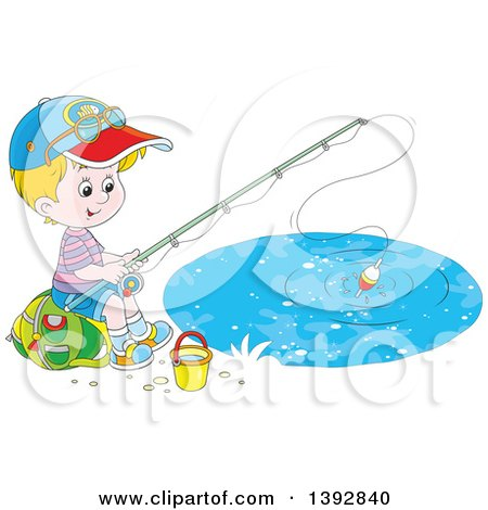 Clipart of a Happy Little White Boy Sitting on a Bag and Fishing - Royalty Free Vector Illustration by Alex Bannykh