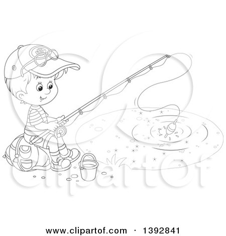 Clipart Of A Black And White Lineart Happy Little Boy Sitting On A Bag And Fishing Royalty Free Vector Illustration By Alex Bannykh 1392841