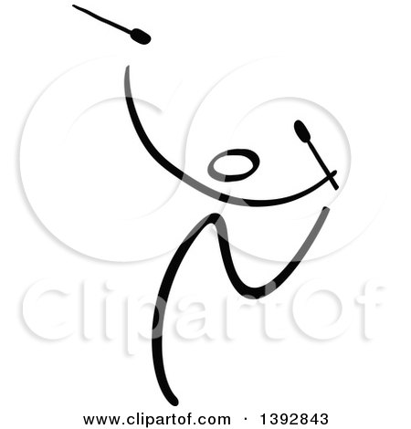 Clipart of a Black and White Olympic Gymnast Stick Athlete Dancing with Clubs - Royalty Free Vector Illustration by Zooco