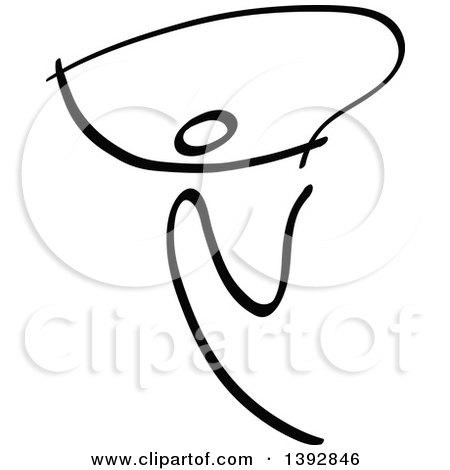 Clipart of a Black and White Olympic Gymnast Stick Athlete with a Rope - Royalty Free Vector Illustration by Zooco