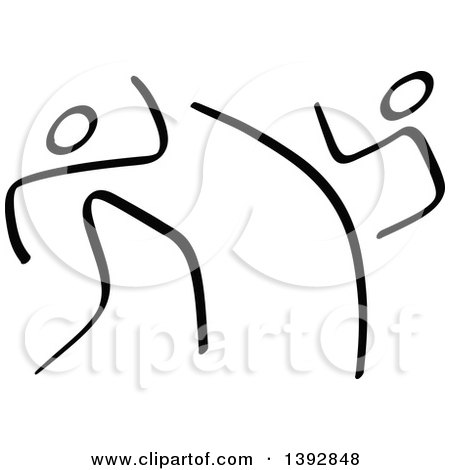 Clipart of Black and White Olympic Taekwondo Stick Men - Royalty Free Vector Illustration by Zooco