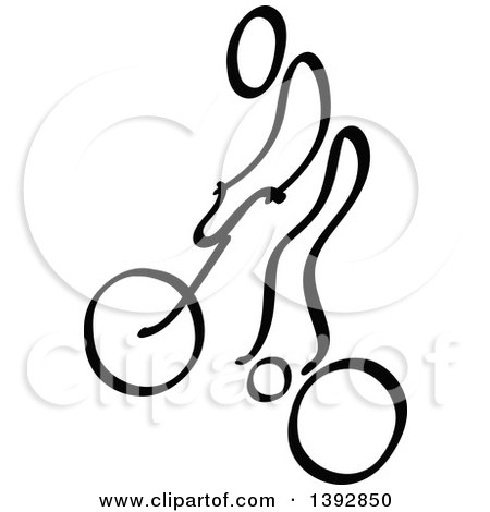 Clipart of a Black and White Olympic BMX Biker Stick Man - Royalty Free Vector Illustration by Zooco