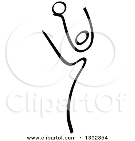 Clipart of a Black and White Olympic Gymnast Stick Athlete Dancing with a Ball - Royalty Free Vector Illustration by Zooco