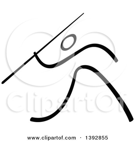 Clipart of a Black and White Olympic Track and Field Stick Man Athlete Performing a Javelin Throw - Royalty Free Vector Illustration by Zooco