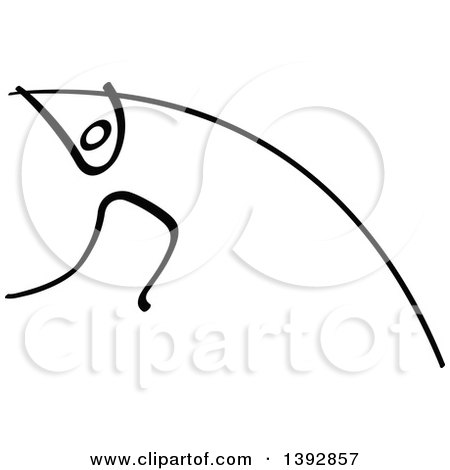 Clipart of a Black and White Olympic Track and Field Stick Man Athlete Pole Vaulting - Royalty Free Vector Illustration by Zooco