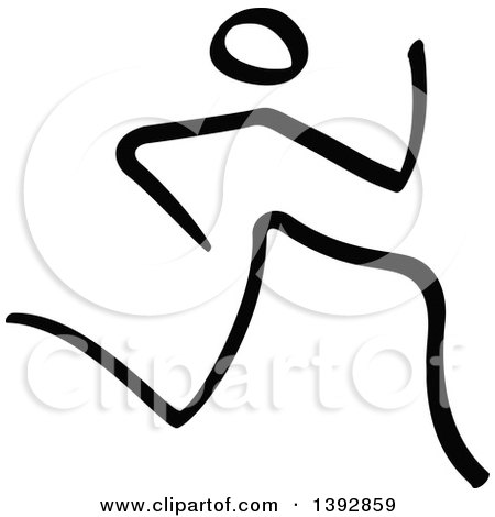 Clipart of a Black and White Olympic Track and Field Stick Man Athlete Sprinting - Royalty Free Vector Illustration by Zooco