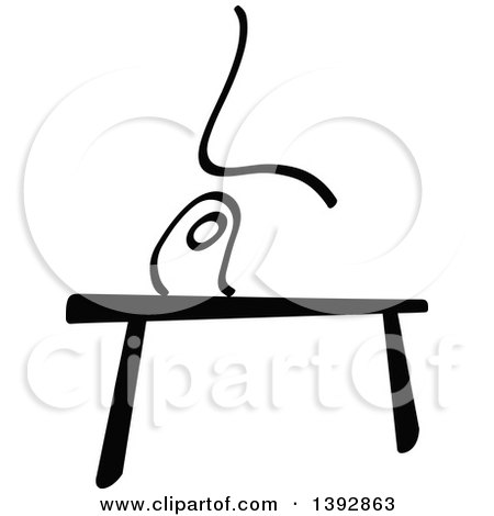 Clipart of a Black and White Olympic Gymnast Stick Man Athlete on a Balance Beam - Royalty Free Vector Illustration by Zooco