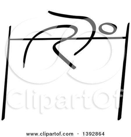 Clipart of a Black and White Track and Field Stick Man Athlete High Jumping - Royalty Free Vector Illustration by Zooco
