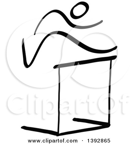 Clipart of a Black and White Track and Field Stick Man Athlete Leaping a Hurdle - Royalty Free Vector Illustration by Zooco