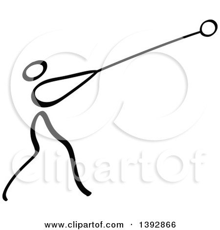 Clipart of a Black and White Track and Field Stick Man Athlete Hammer Throwing - Royalty Free Vector Illustration by Zooco