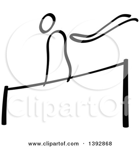Clipart of a Black and White Olympic Gymnast Stick Man Athlete on a Horizontal Bar - Royalty Free Vector Illustration by Zooco