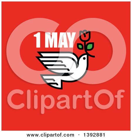Clipart of a Dove Flying with a Red Tulip with 1 May Text on Red - Royalty Free Vector Illustration by elena
