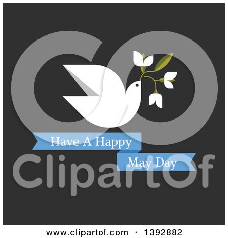 Clipart of a Dove Flying with Flowers over Have a Happy May Day Text on Dark Gray - Royalty Free Vector Illustration by elena