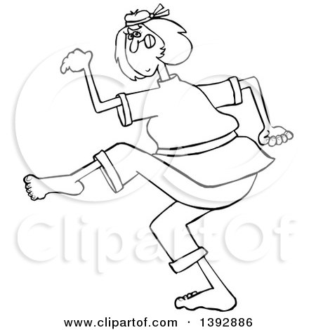 Clipart of a Cartoon Black and White Lineart Martial Artist Karate Woman - Royalty Free Vector Illustration by djart
