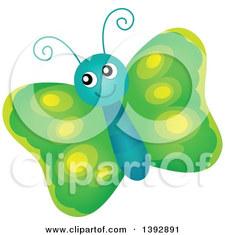 Clipart of a Happy Green Butterfly - Royalty Free Vector Illustration by visekart