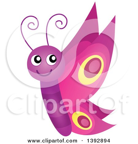 Clipart of a Happy Purple Butterfly - Royalty Free Vector Illustration by visekart