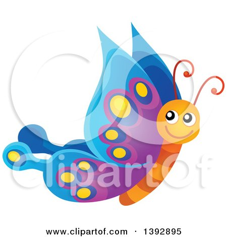 Clipart of a Happy Butterfly - Royalty Free Vector Illustration by visekart