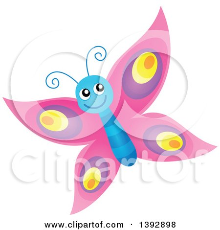 Clipart of a Happy Pink Butterfly - Royalty Free Vector Illustration by visekart