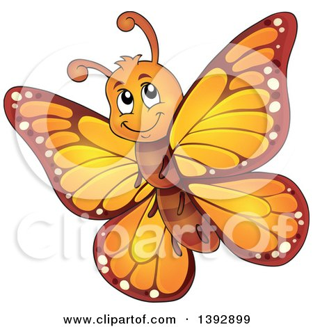Clipart of a Happy Orange Butterfly - Royalty Free Vector Illustration by visekart