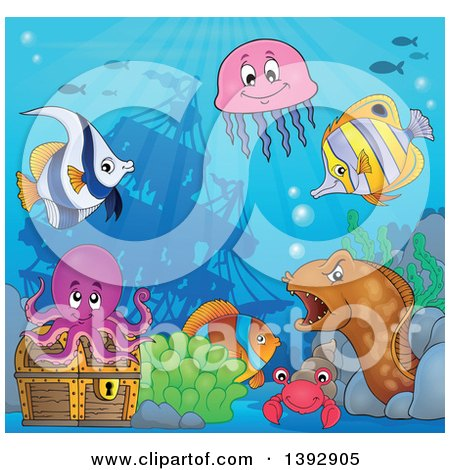 Clipart of Marine Life and a Treasure Chest by a Sunken Ship - Royalty Free Vector Illustration by visekart