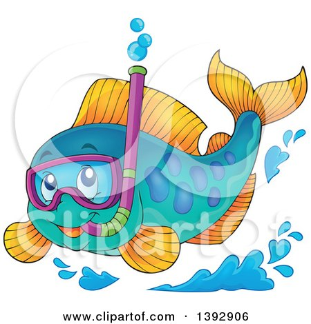 Clipart of a Marine Fish Wearing a Snorkel Mask - Royalty Free Vector Illustration by visekart