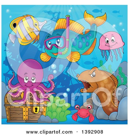 Clipart of a Snorkel Fish and Friends by a Sunken Ship - Royalty Free Vector Illustration by visekart