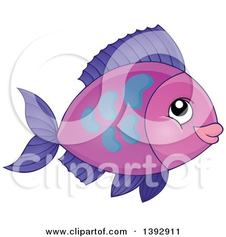 Clipart of a Purple Fish - Royalty Free Vector Illustration by visekart