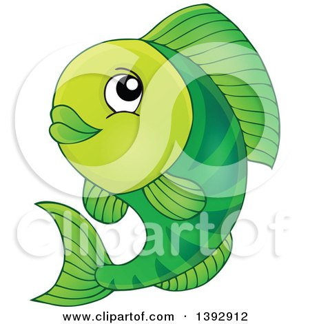 Clipart of a Happy Green Fish Fish - Royalty Free Vector Illustration by visekart