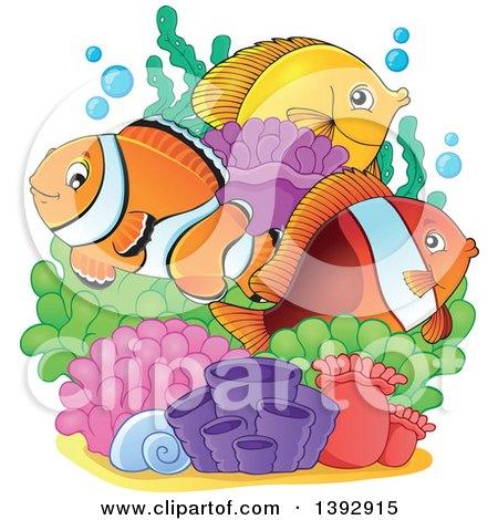 Clipart of Clownfish and Yellow Tang Marine Fish at a Reef - Royalty Free Vector Illustration by visekart